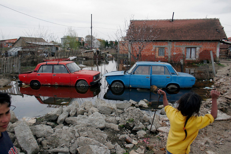 Flood in Gypsie village. Belgrade, Serbia, 2006.