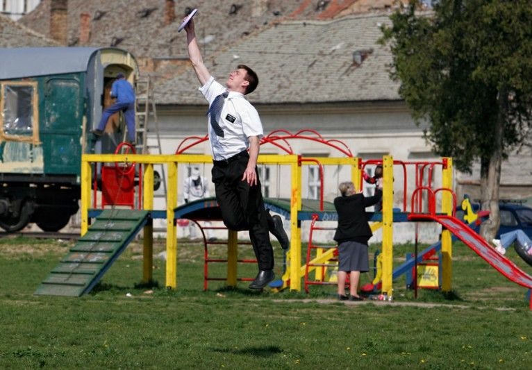 Man is playing frisbee. Pancevo, Serbia, 2007.