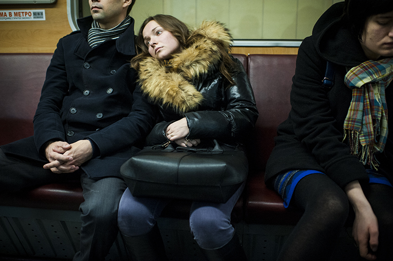 Young couple in Metro in Kiev